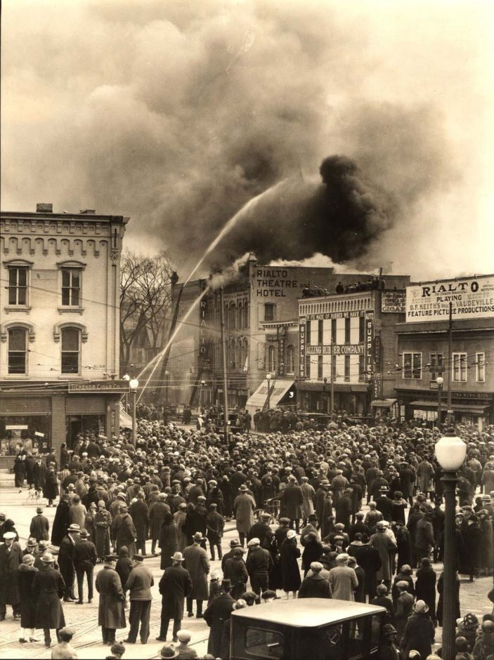 The 1925 fire at the Rialto Theatre and Hotel attracted hundreds of spectators to downtown Glens Falls.