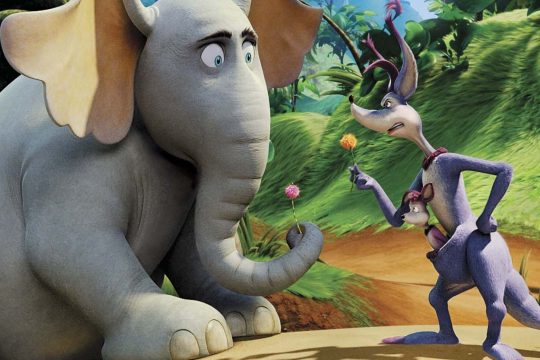 "Kangaroo (voiced by Carol Burnett) lectures Horton (voiced by Jim Carrey) on the ""impossibility†of life existing on a speck on a clover in ""Dr. Seuss' Horton Hears a Who!â&#128"