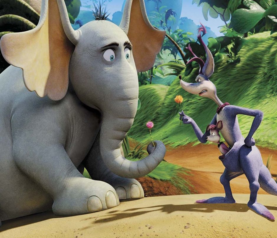 """Kangaroo (voiced by Carol Burnett) lectures Horton (voiced by Jim Carrey) on the """"impossibility†of life existing on a speck on a clover in """"Dr. Seuss' Horton Hears a Who!â&#128"""