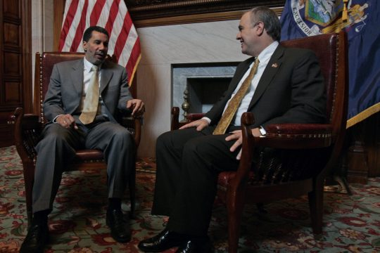 Lt. Gov. David Paterson talks with state Comptroller Thomas DiNapoli in Paterson's office at the state Capitol in Albany on Friday. Paterson on Monday will replace Gov. Eliot Spitzer, who resigned Wednesday.
