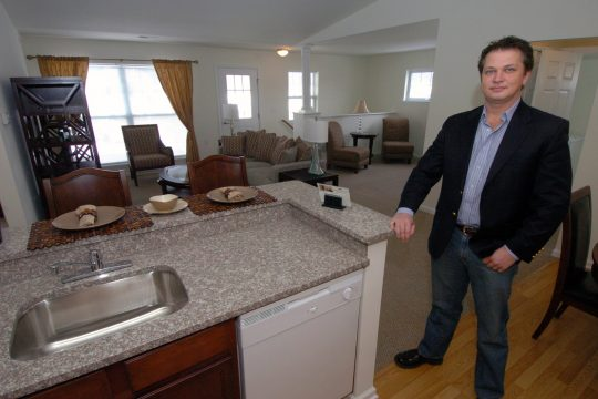 Jim Quinn, Director of Property Managrment in The Travers, a two bedroom apartment in the new 400plus-units at The Paddocks of Saratoga, luxury apartments in  the town of Wilton (Old Gick Road). The dozens of apartment buildings have gone up very quickly,