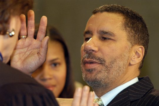 David Paterson is sworn in by Chief Justice Judith Kaye as the 55th governor of New York on Monday afternoon.