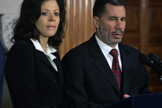 New York Gov. David Paterson, right, and his wife, Michelle Paige Paterson, discuss marital infidelities during a news conference at the state Capitol in Albany on Tuesday afternoon.