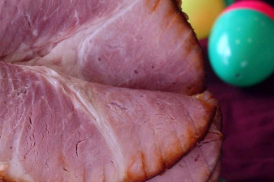 A spiral-sliced and glazed ham from the Honeybaked Ham Company in Colonie looks ready to be served for Easter dinner.