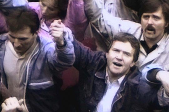 "Estonians join hands and sing to protest Soviet occupation in the late 1980s in footage from ""The Singing Revolution."""