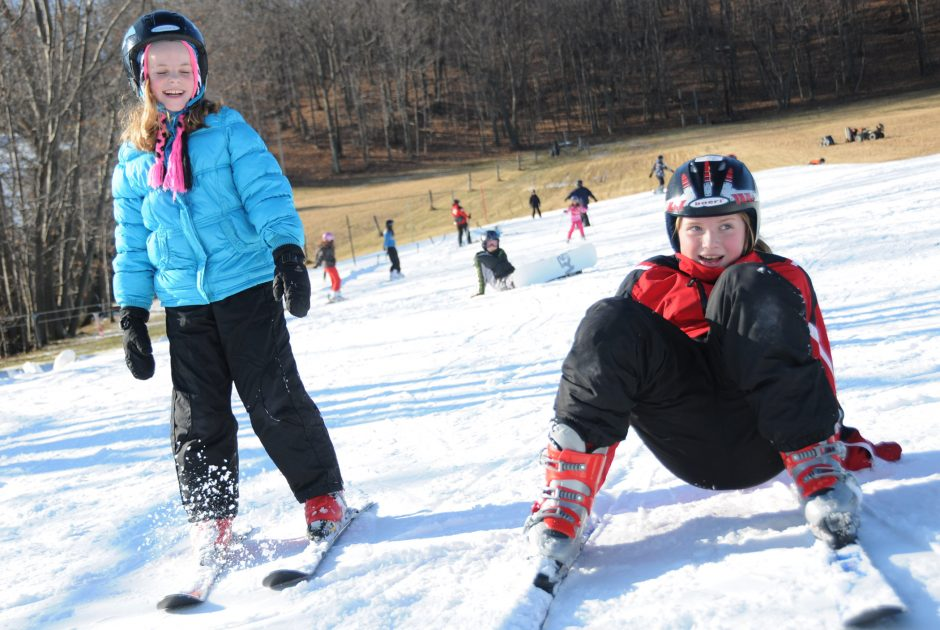 Lexi Hall, left, and Paige Halliday, both 10 and of Bethlehem, try out the bunny hill  Monday at Maple Ski Ridge in Rotterdam.