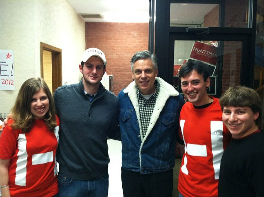 Presidential candidate Jon Huntsman, center, poses with Union College students, from left, Hanna Squire, Ian Schwartz, Nick D'Angelo and Ben Engle in Huntsman's campaign office in New Hampshire.