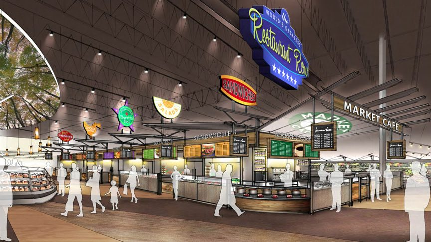 An artist's illustration of Price Chopper's new concept store in Latham shows a restaurant area with 16 themed fast-casual dining options.