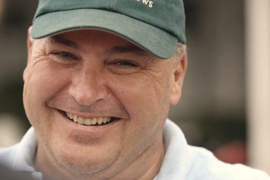 Trainer Rick Dutrow Jr. shares a laugh with reporters as he talks about Kentucky Derby winner Big Brown at Churchill Downs in Louisville, Ky., Wednesday. (AP Photo/Garry Jones)