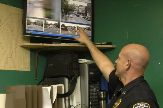 Inside the Gloversville Police Station, Captain James Lorenzoni shows the downtown surveillance system Friday. The cameras can be manually controlled, as well as perform built-in operational checks. All of the recorded information is stored on a hard driv