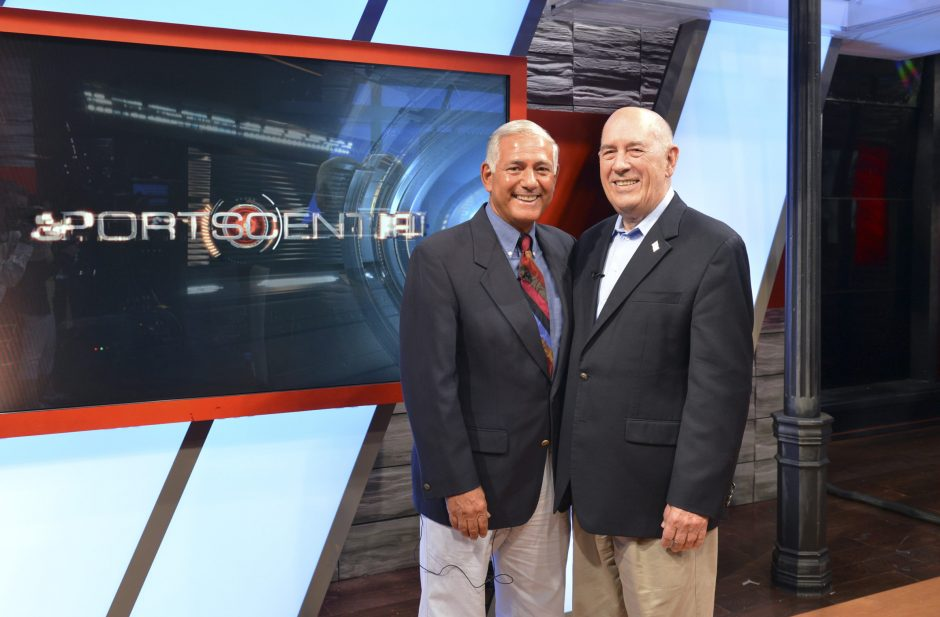 Original SportsCenter host George Grande, left, and ESPN founder Bill Rasmussen are seen in ESPN's Studio B in Bristol, Conn., during a promo session for the 50,000th episode of SportsCenter in this Aug. 13 photo.