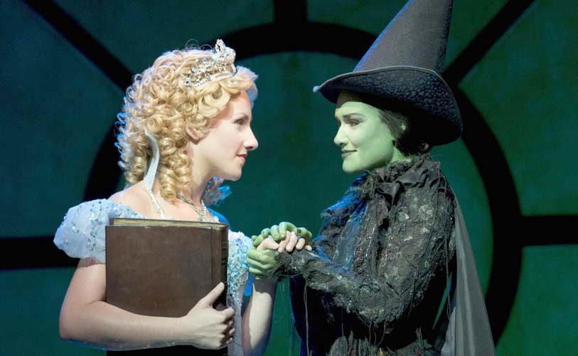 """Jeanna de Waal, left, portrays Glinda and Christine Dwyer plays Elphaba in """"Wicked,"""" which is at Proctors through Nov. 25."""