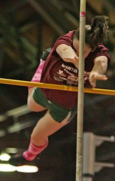 Michelle Quimby of Shenendehowa wins the state indoor meet pole vault in March at Cornell. (Bill Meylan, Tullyrunners.com)