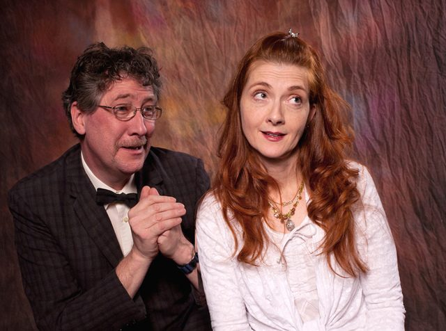 """Brian Massman is Sid and Janet Hurley Kimlicko is his long-time girlfriend Lily in the Theater Voices production of Eugene O'Neill's """"Ah, Wilderness!"""" opening Friday at the Steamer No. 10 Theatre. (JOE SCHUYLER)"""