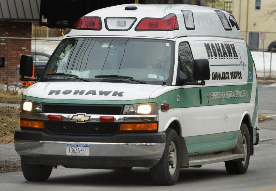 A Mohawk Ambulance makes it's way to Ellis Hospital on Nott Street in Schenectady Wednesday.
