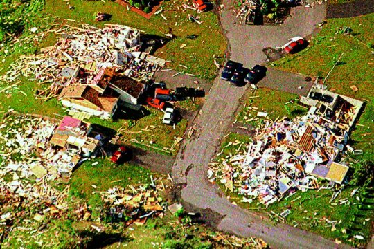 An aerial view of the Viall Hill area highlights the damage left behind by the storm that struck the Mechanicville and Stillwater areas in 1998.