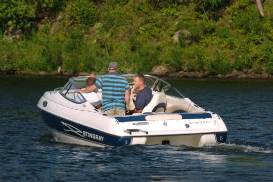 Boaters take off from the Freemans Bridge launch in Glenville on Monday.