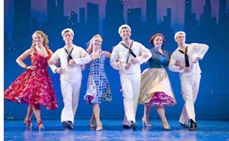"""From left, Elizabeth Stanley, Clyde Alves, Deanna Doyle, Tony Yazbeck, Alysha Umphress and Jay Armstrong Johnson perform a number in """"On the Town†at Barrington Stage Company."""