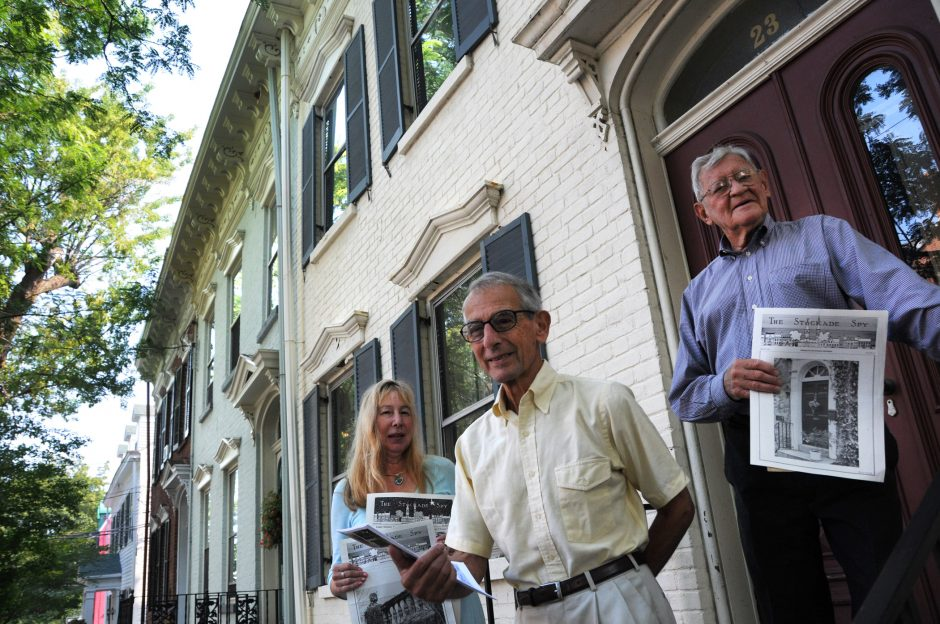 Sylvie Briber, editor, and Werner Feibes and James Schmitt, founders of the Stockade Spy. Gazette file photo