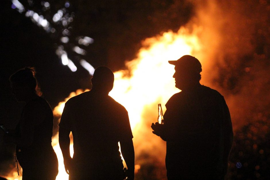 """The annual Labor Day """"Ring of Fire"""" along Sacandaga Lake on September 1, 2013."""