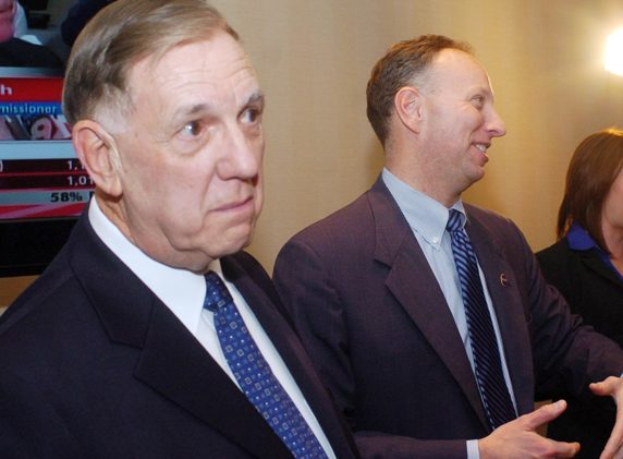 Saratoga County Sheriff James Bowen, left, and District Attorney James Murphy stand with each other at the Holiday Inn after both were easily returned to their respective offices on Election Night in 2010.  (Gazette file photo)