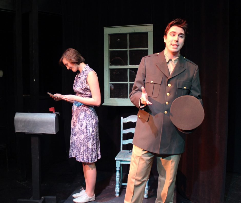 Union College students Jasmine Roth and David Masterson rehearse a scene from 'Lines of Fire,' a new play by Andrew Carroll making its world premiere Friday night at Union.