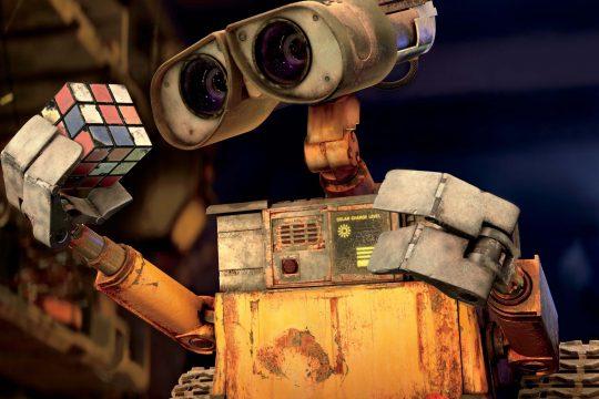"WALL-E picks up a Rubik's Cube in the film ""WALL-E."""
