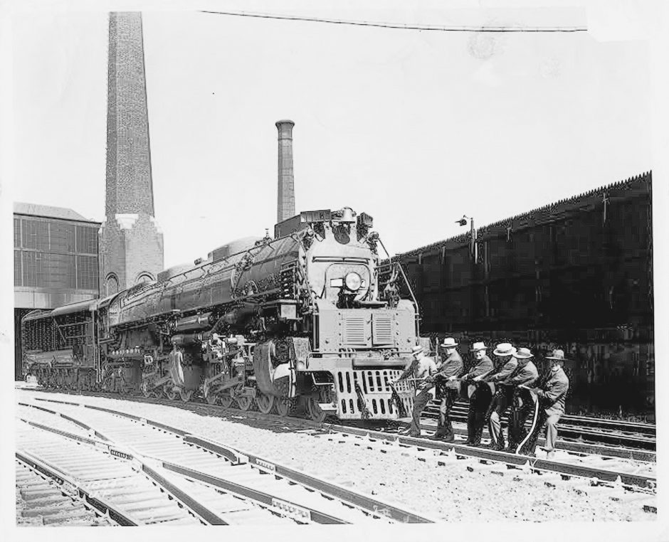 American Locomotive Company officials staged this photograph when the Big Boy 4000 series was being introduced at the Alco Schenectady plant in 1941.