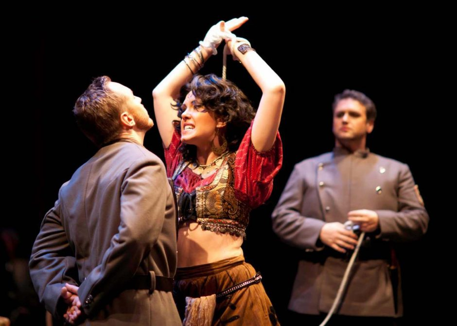 Kara Cornell strikes a pose in a scene from 'Carmen' at the Pittsburgh Opera Theater. (Pittsburgh Opera Theater photo)