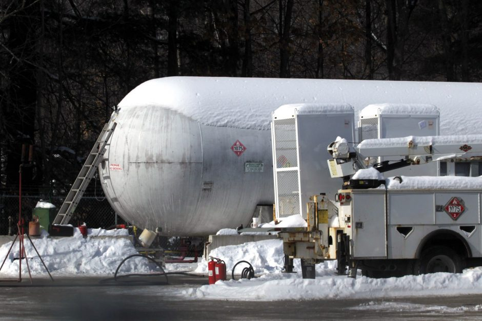 This propane tank at Amerigas in Wilton, pictured Saturday, was the source of a leak that forced the evacuation of the surrounding neighborhood on Friday.