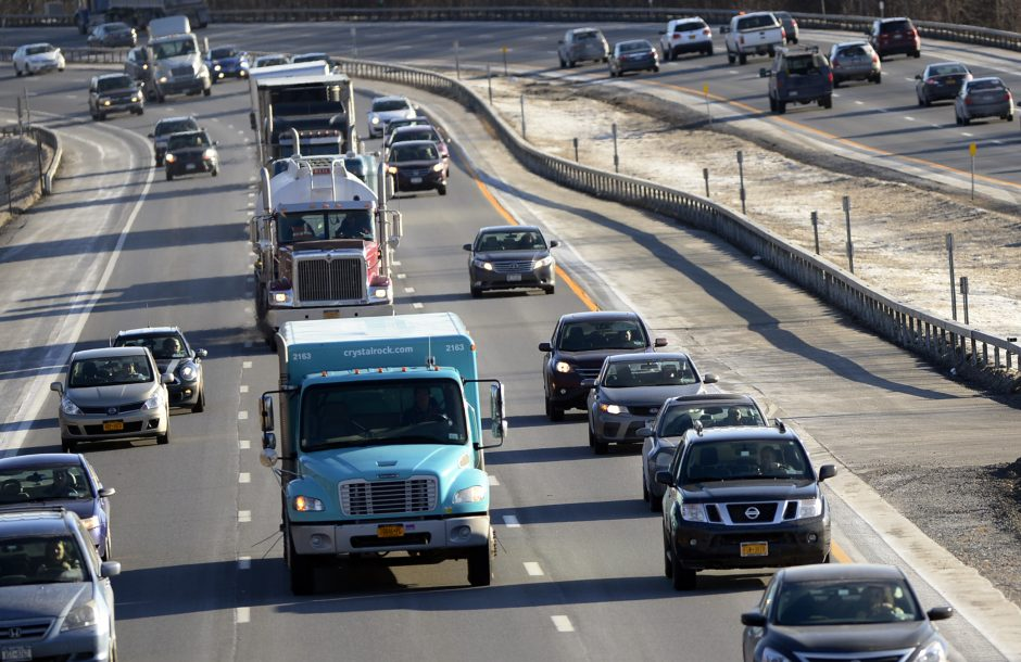 Traffic moves along the northbound lane of Interstate 87 in Halfmoon near the Clam Steam Road overpass on Wednesday.
