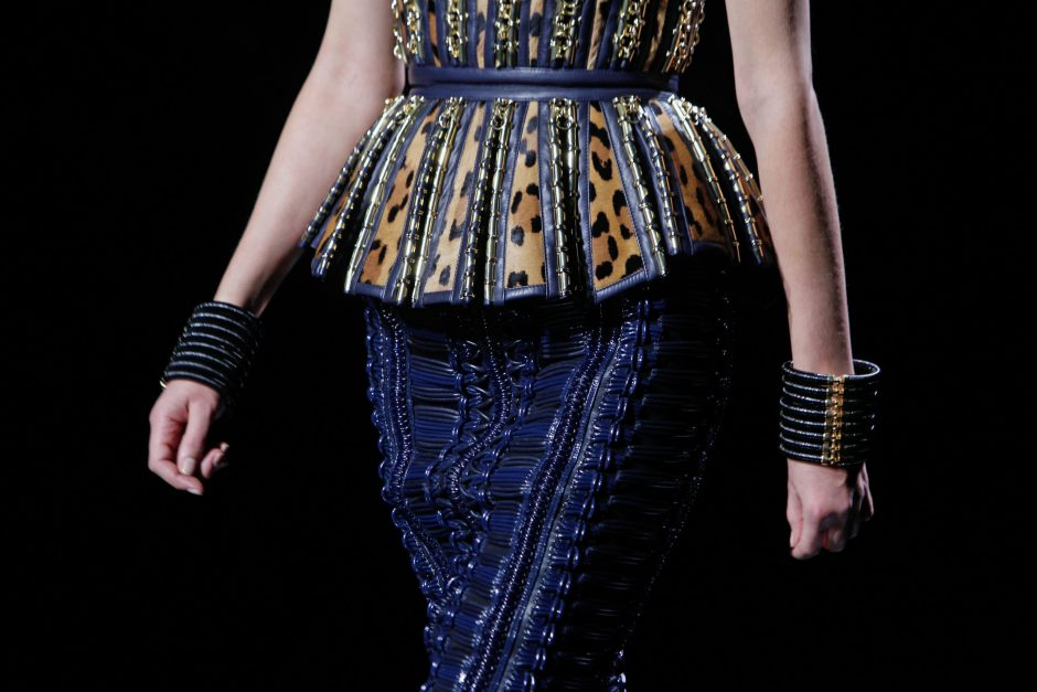 A model wears a creation for Balmain's ready-to-wear fall/winter 2014-2015 fashion collection presented in Paris, Thursday, Feb.27, 2014. (AP Photo/Thibault Camus)