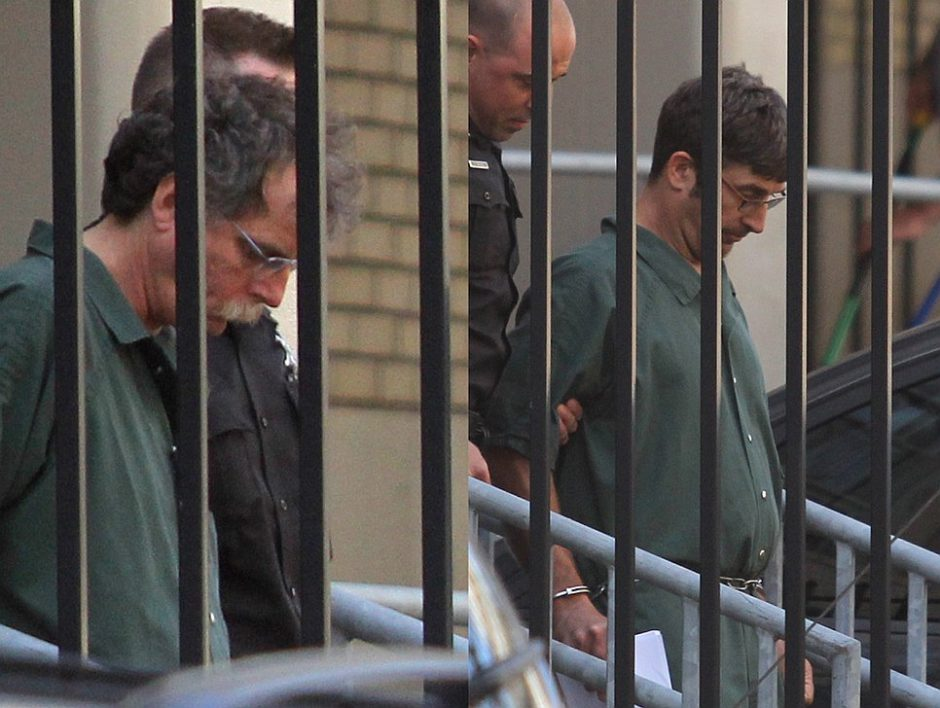 Eric J. Feight of Hudson, left photo, and Glendon Scott Crawford of Galway, right photo, are led out of the James T. Foley Federal Courthouse in Albany on June 19, 2013.