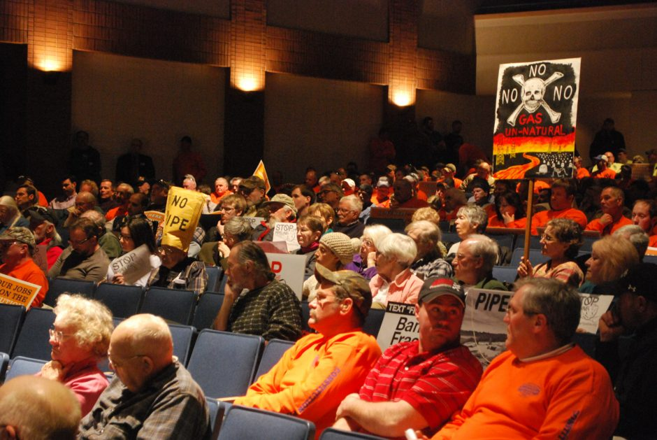 Hundreds attend a hearing on the proposed Constitution Pipeline project at the Cobleskill-Richmondville high school auditorium Monday night.