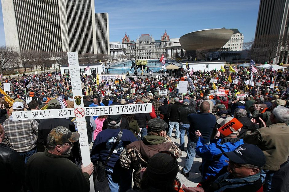 An anti-SAFE Act rally was held at the Empire State Plaza on March 1.