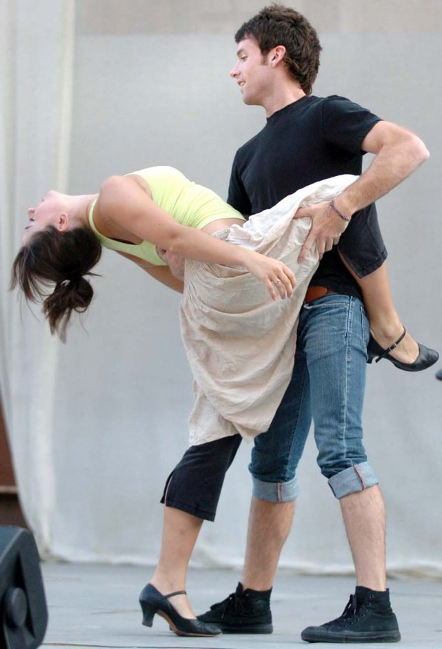 """Matthew Winning, playing Riff, rehearses a dance with Jacqueline Rosenthal, playing Velma, for the Park Playhouse production of """"West Side Story"""" at Albany's Washington Park."""