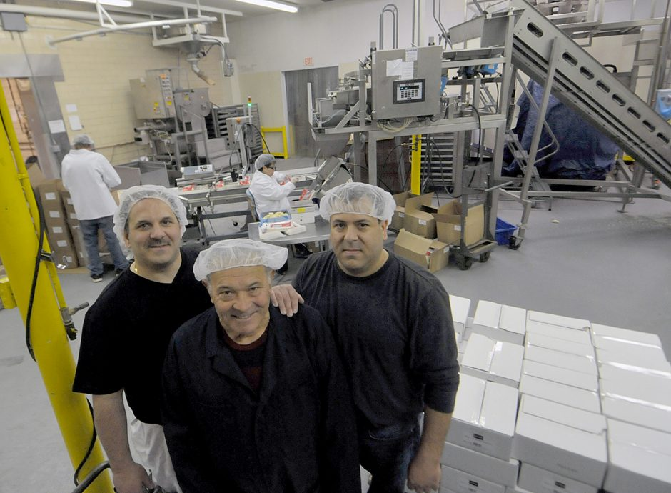 Pede Bros. owner Romolo Pede with hs sons,left to right, Romolo Pede Jr. and David Pede in the products manufacturing plant located in Rotterdam.