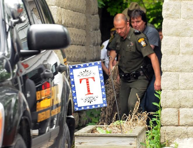 DEC crews remove the bear after it fell from a tree Wednesday afternoon in Albany.