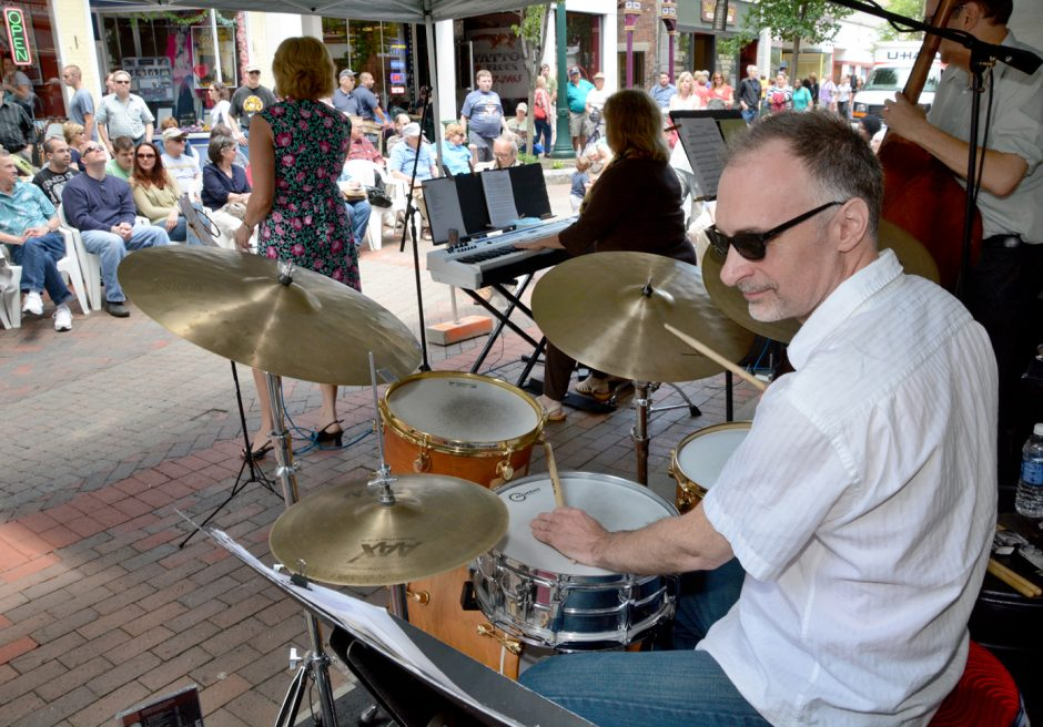 The Jeanne O'Connor Quartet performs at Jazz on Jay Thursday afternoon. Weekly performances run each Thursday from noon to 1:30 until September 4. Drummer Pete Sweeney is seen at right.
