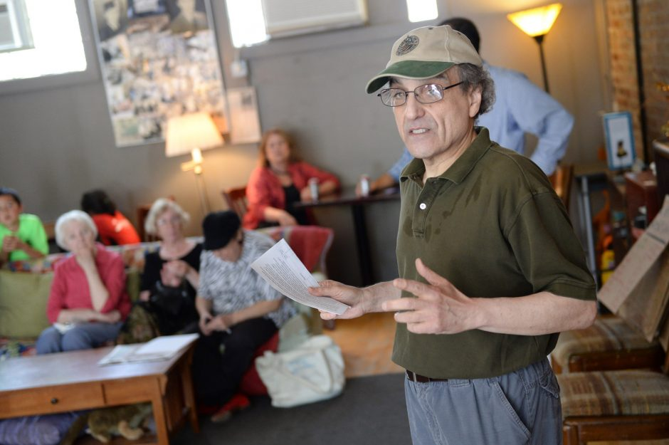 David Giacalone speaks while residents gather for a rally against a Vegas-style casino in Schenectady at Arthur's Market in the Stockade on Saturday, June 7, 2014.