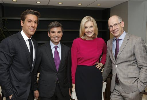 This image released by ABC News shows, from left, David Muir, George Stephanopoulos, Diane Sawyer and ABC News President James Goldston on Wednesday, June 25, 2014, in New York. Sawyer is stepping down as its evening news anchor, to be replaced by Davi...