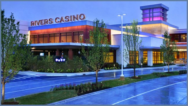 This rendering depicts the Rivers Casino in Des Plaines, Ill., which is operated by Rush Street Gaming.