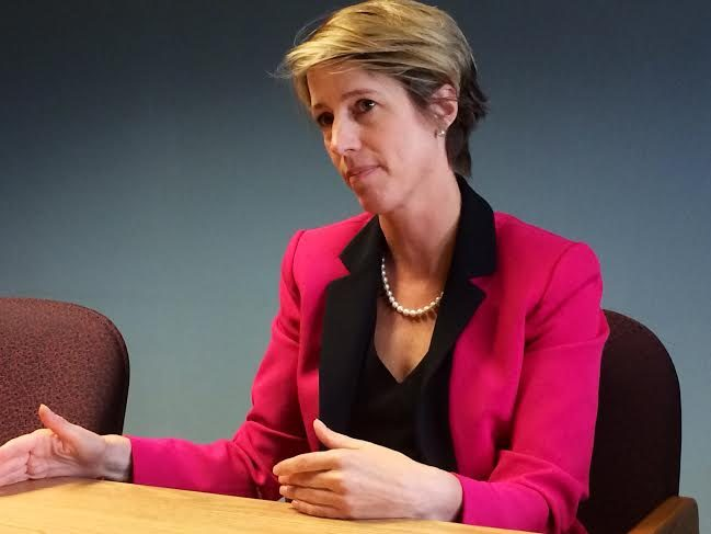 Democratic gubernatorial candidate Zephyr Teachout speaks with Daily Gazette editors and reporters in 2014.