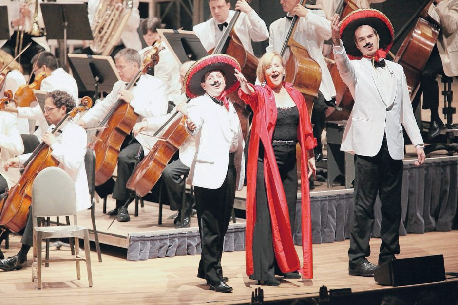 Frederica von Stade with Tanglewood Music Center fellows Ryan Casperson and Sam Filson Parkinson, performing in Candide with the Boston Symphony Orchestra. (Hilary Scott photo)