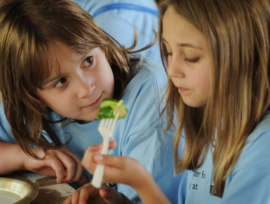Hayley Gorman, 8, of Delmar watches as Kayleigh Filkins, 9, of Niskayuna takes a bite of her salad at the Sugar Free Gang Kids Camp in Clifton Park.