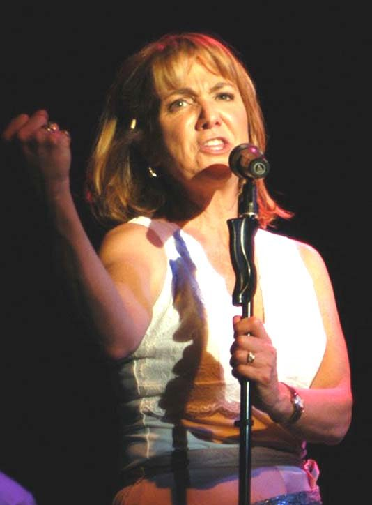 "Benita Zahn sings a song in the Fort Salem Theater production of ""I'm Getting My Act Together and Taking It on the Road."""