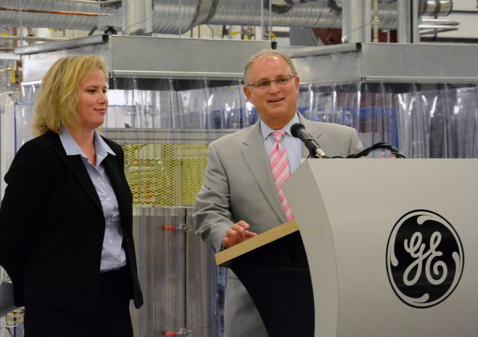 Joanna Wellington, general manager of GE Fuel Cells, and HVCC President Andrew J. Motonak   on Tuesday morning talk about HVCC's plan to install and operate a fuel cell power generation demonstration system at its Tec-SMART facility in Malta.
