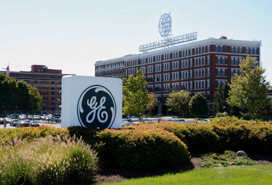 Building 37 at the General Electric plant is one of Schenectady's iconic building, largely because of the lighted sign with the company's name and logo.