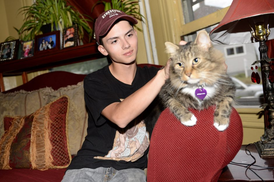 Schenectady High School senior Draven Rodriguez plays with his cat, Mr. Bigglesworth, at home Wednesday.