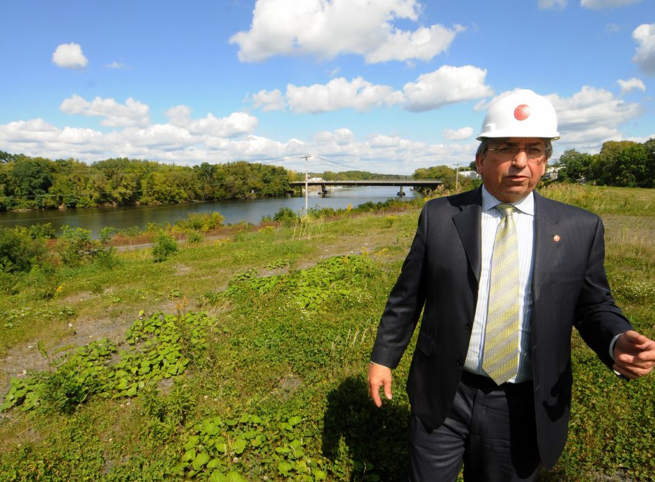 Galesi Group COO, David Buicko walks the north end grounds parallel to the Mohawk River at the former ALCO site in Schenectady on Wednesday afternoon. The Galesi Group and Rush Street Gaming of Chicago are partnering with plans to build the full-scale ...